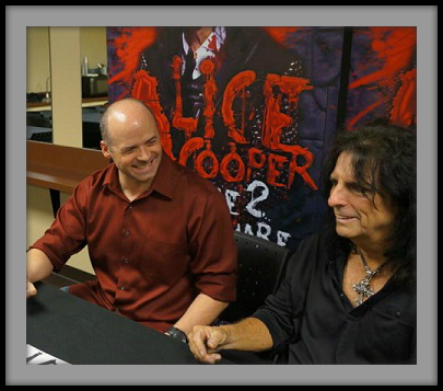 Editor Marc S. Boriosi with Alice Cooper
